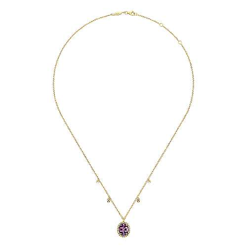 14K Yellow Gold Amethyst Oval and Diamond Halo Pendant Necklace with Side Drops