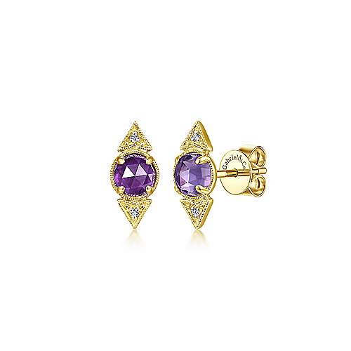 14K Yellow Gold Amethyst and Diamond Triangle Stud Earrings