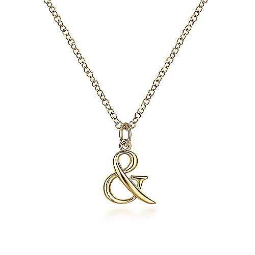 14K Yellow Gold Ampersand Pendant Necklace with Bezel Set Diamond Drop