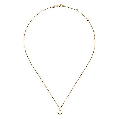 14K Yellow Gold Anchor Pendant Necklace