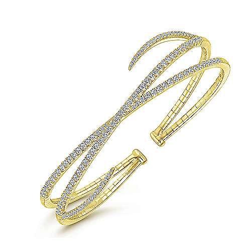 14K Yellow Gold Asymmetrical Criss Cross Diamond Bangle