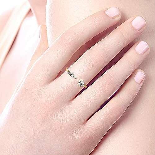 14K Yellow Gold Asymmetrical Pavé Diamond Open Ring
