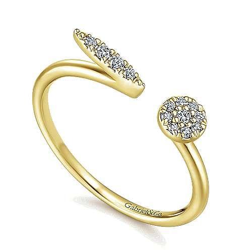 14K Yellow Gold Asymmetrical Pave Diamond Open Ring