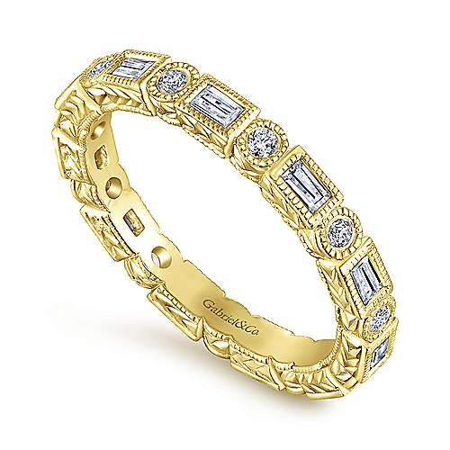 14K Yellow Gold Baguette and Round Diamond Eternity Ring