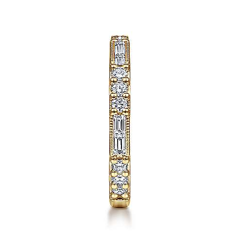 14K Yellow Gold Baguette and Round Diamond Stackable Ring