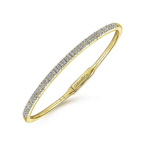 14K Yellow Gold Bangle with Double Diamond Rows