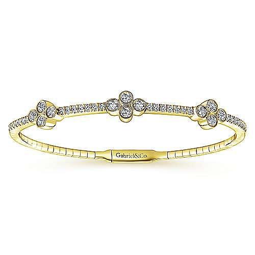14K Yellow Gold Bangle with Quatrefoil Diamond Stations