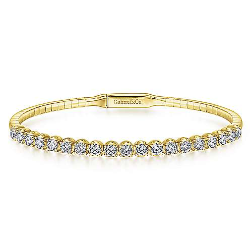 14K Yellow Gold Bangle with Round Diamond Accents