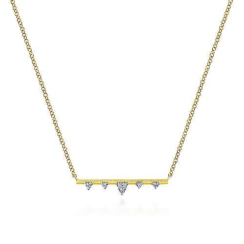 14K Yellow Gold Bar Necklace with Diamond Triangle Stations