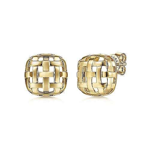14K Yellow Gold Basket Weave Stud Earrings