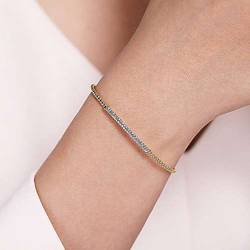 14K Yellow Gold Beaded Bangle with Diamond Accent Bar
