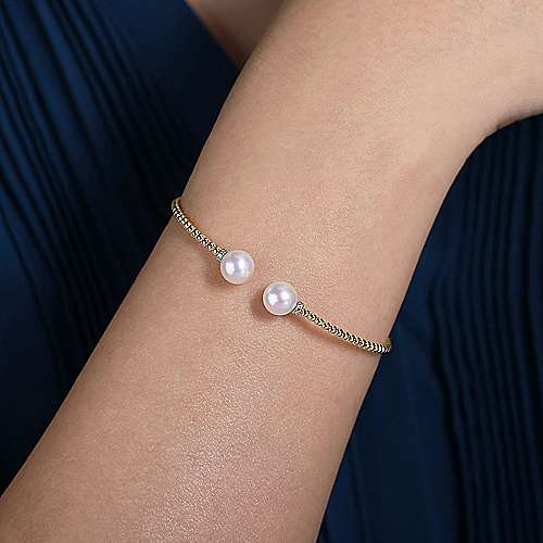 14K Yellow Gold Beaded Bangle with Pearl Accents