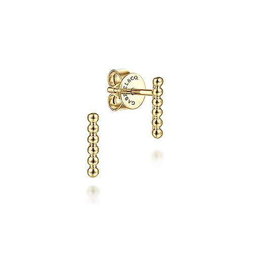 14K Yellow Gold Beaded Bar Stud Earrings