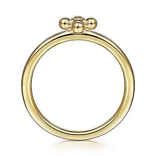 14K Yellow Gold Beaded Bezel Set Diamond Cross Ring
