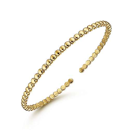 14K Yellow Gold Beaded Cuff Bracelet