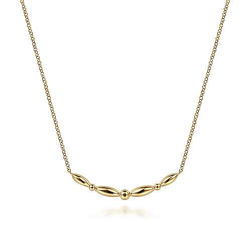 14K Yellow Gold Beaded Curved Bar Necklace