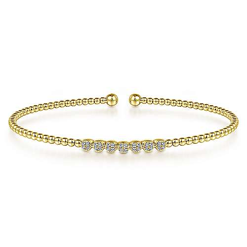 14K Yellow Gold Beaded Diamond Bangle with Pavé Accents