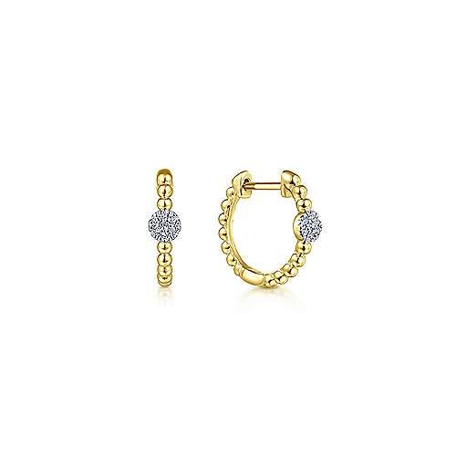 14K Yellow Gold Beaded Diamond Pavé 15mm Huggie Earrings