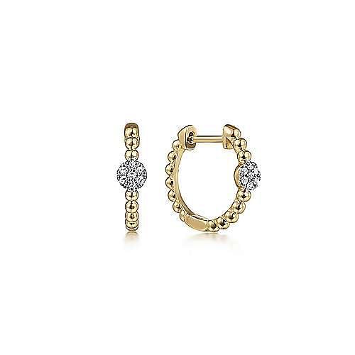 14K Yellow Gold Beaded Diamond Pavé 15mm Huggies