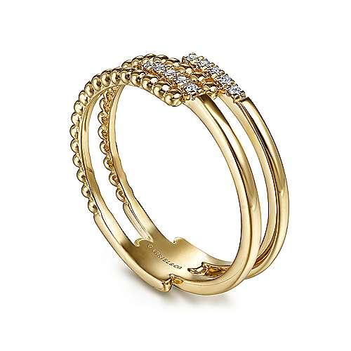 14K Yellow Gold Beaded Interlocking Diamond Ladies Ring