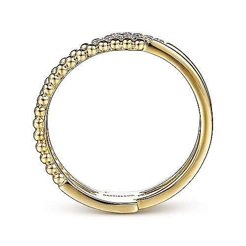 14K Yellow Gold Beaded Interlocking Diamond Ring