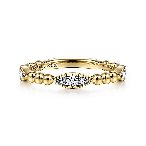 14K Yellow Gold Beaded Marquis Cluster Diamond Bujukan Ring