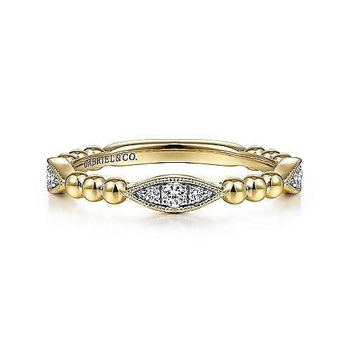 14K Yellow Gold Beaded Marquis Cluster Diamond Ladies Ring