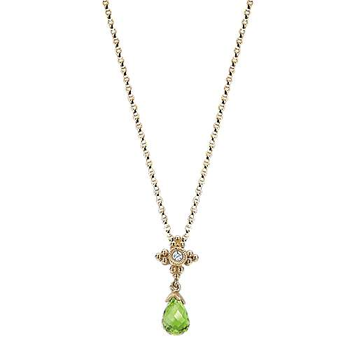 14K Yellow Gold Beaded Milgrain Frame and Peridot Necklace