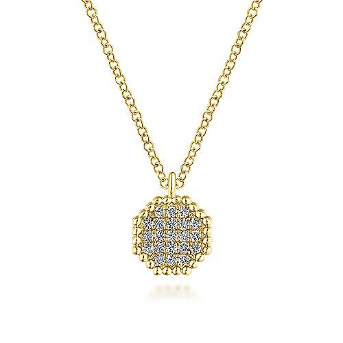 14K Yellow Gold Beaded Octagonal Diamond Pendant Necklace