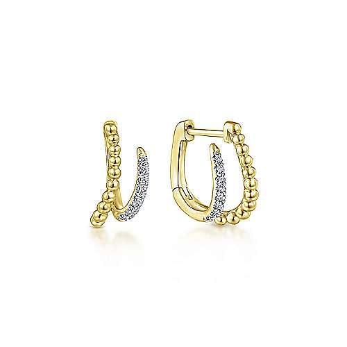 14K Yellow Gold Beaded Pavé 10mm Diamond Huggies
