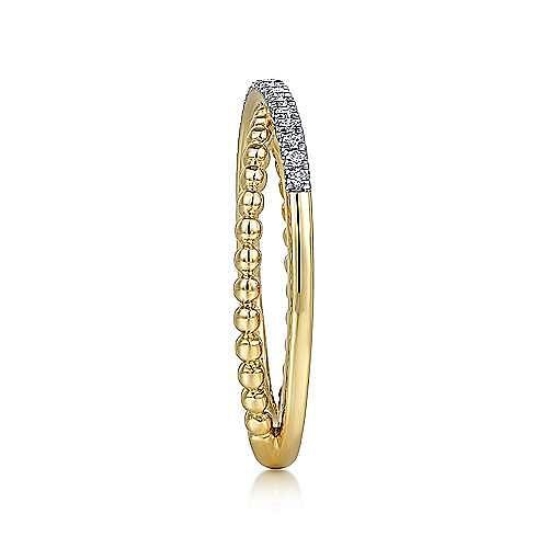 14K Yellow Gold Beaded Pavé Diamond Criss Cross Ring