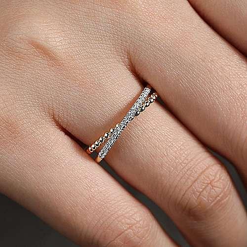 14K Yellow Gold Beaded Pavé Diamond Ring