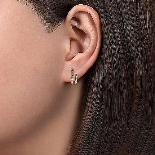 14K Yellow Gold Beaded Pave 10mm Diamond Huggie Earrings