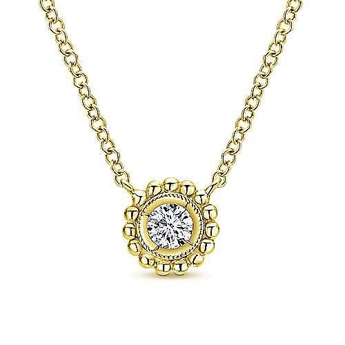 14K Yellow Gold Beaded Round Bezel Set Diamond Pendant Necklace
