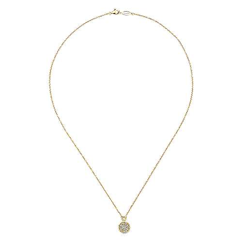 14K Yellow Gold Beaded Round Diamond Cluster Pendant Necklace