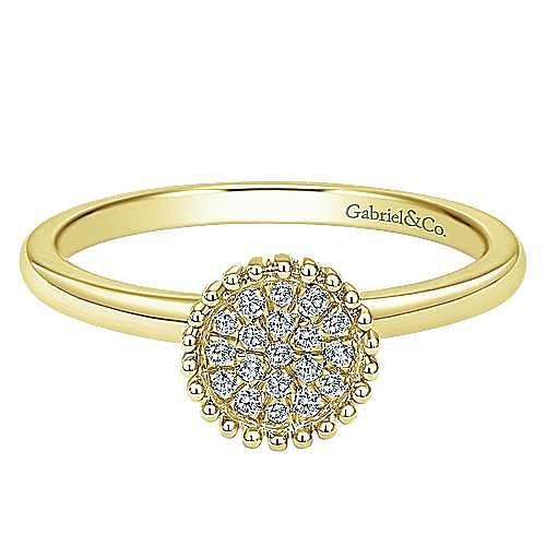 14K Yellow Gold Beaded Round Diamond Pave Ladies Ring