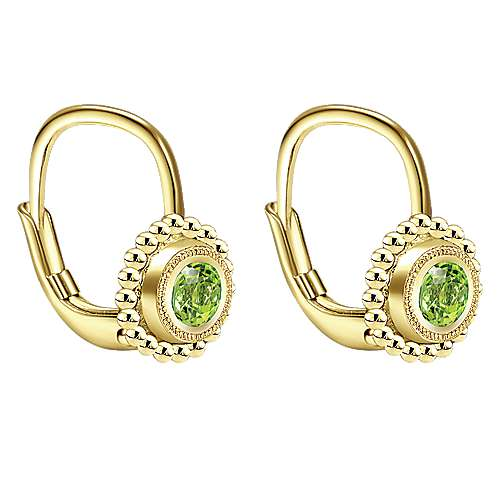14K Yellow Gold Beaded Round Peridot Drop Earrings