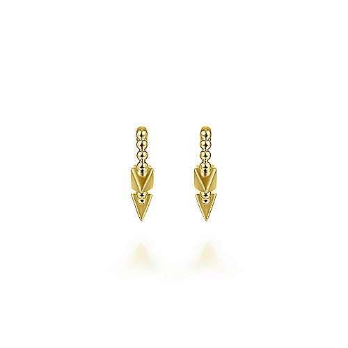 14K Yellow Gold Beaded Spiked 15mm Huggie Earrings