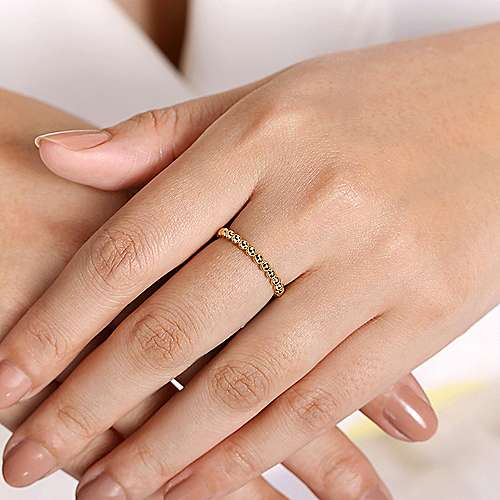 14K Yellow Gold Beaded Stackable Ring