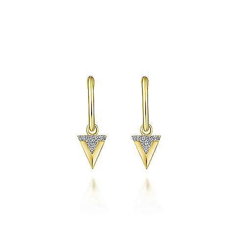 14K Yellow Gold Beveled 10mm Diamond Triangle Drop Huggies