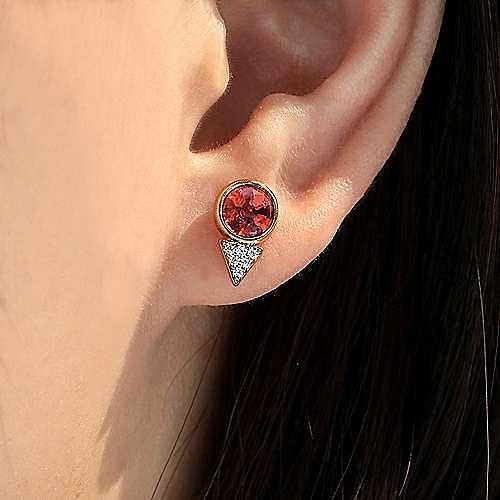 14K Yellow Gold Bezel Garnet and Diamond Cluster Stud Earrings