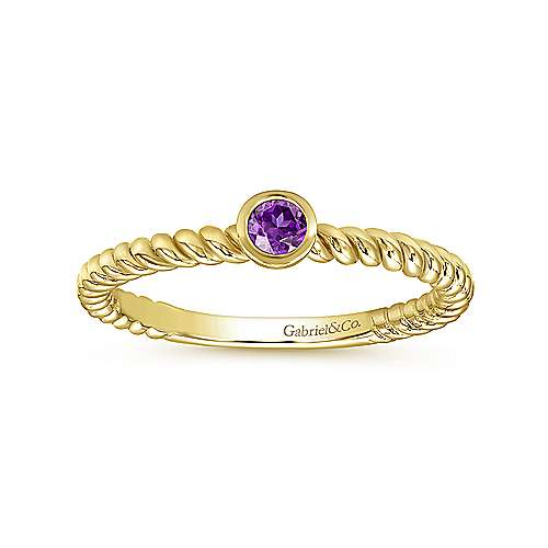 14K Yellow Gold Bezel Set Amethyst Ring with Twisted Rope Shank