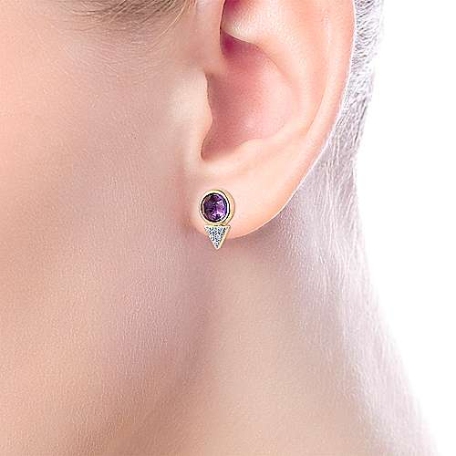 14K Yellow Gold Bezel Set Amethyst and Triangle Diamond Cluster Stud Earrings