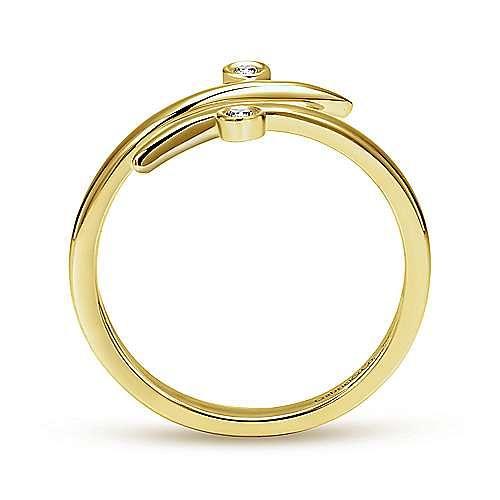 14K Yellow Gold Bezel Set Diamond Midi Open Wrap Ring