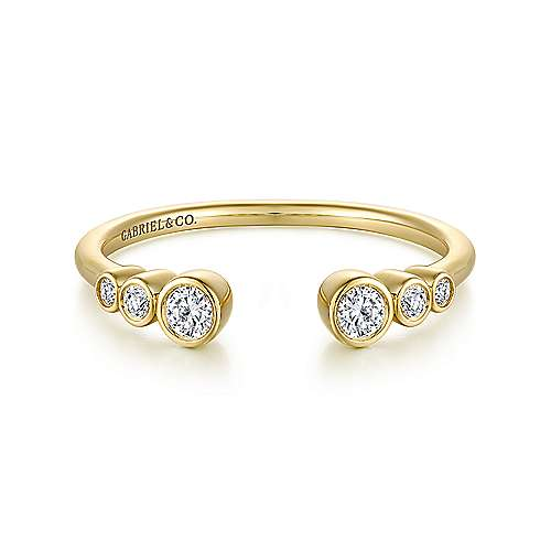 14K Yellow Gold Bezel Set Diamond Split Stackable Ring