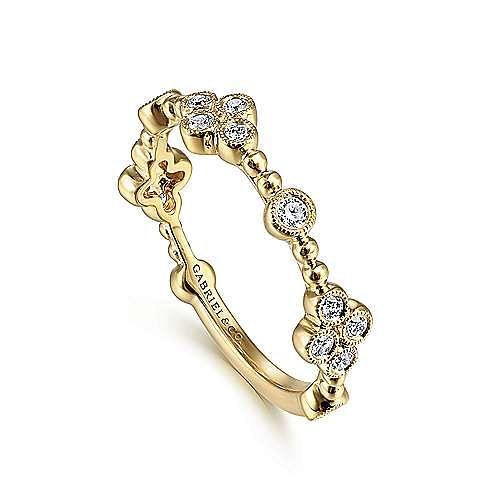 14K Yellow Gold Bezel Set Diamond Stackable Ladies Ring