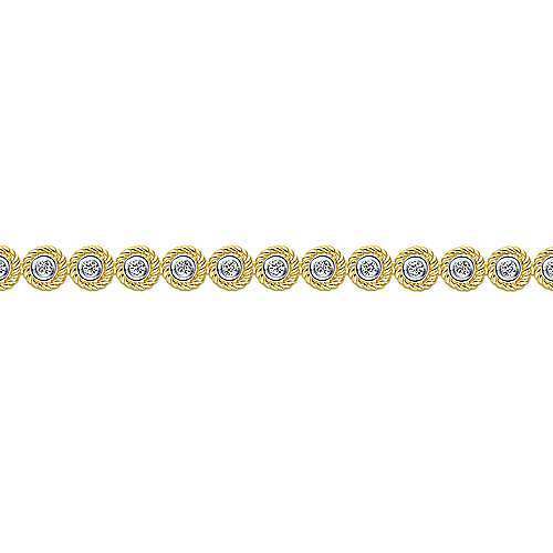 14K Yellow Gold Bezel Set Diamond Tennis Bracelet with Twisted Rope Frame