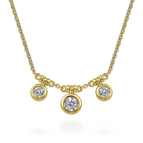14K Yellow Gold Bezel Set Diamond Trio Choker Necklace