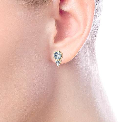 14K Yellow Gold Bezel Set Sky Blue Topaz and Diamond Cluster Stud Earrings