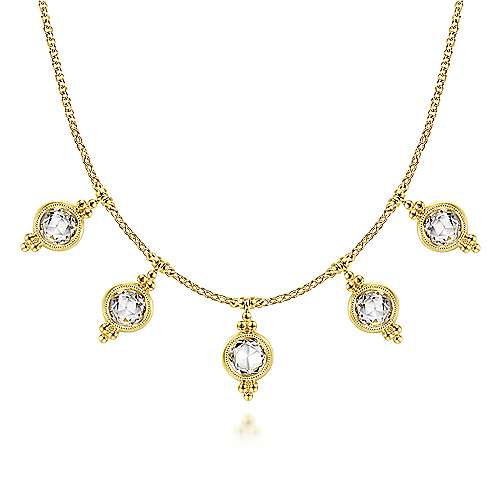 14K Yellow Gold Bezel Set White Topaz Drops Necklace with Millgrain